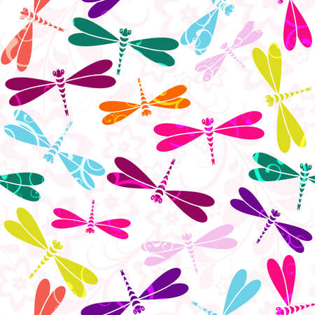 Seamless white pattern with colorful dragonflies and vintage curls (vector)
