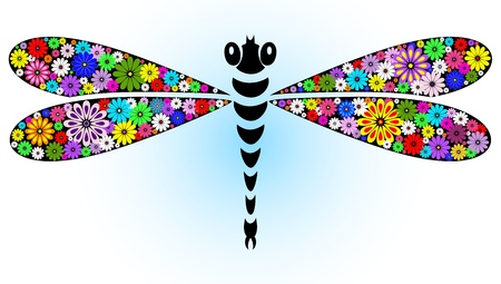 Vivid fantasy floral abstract dragonfly for design on white-blue (vector) Illustration