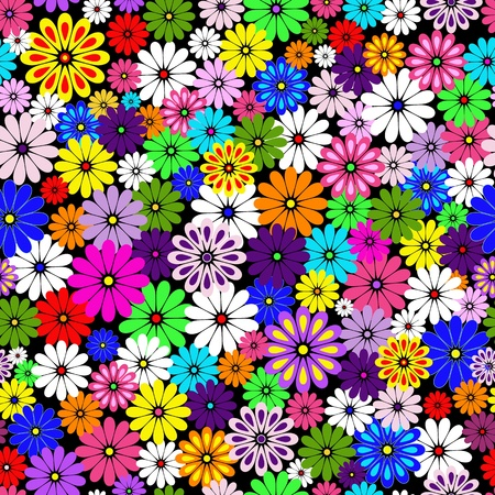 Seamless floral vivid pattern with colorful flowers on black(vector)