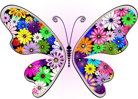 black and blue butterfly flying: Vivid fantasy floral abstract butterfly for design on white-pink (vector)