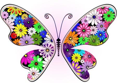 trabajo manual: Vivid la fantas�a de flores de mariposa abstracta para dise�o en blanco-rosa (vector)