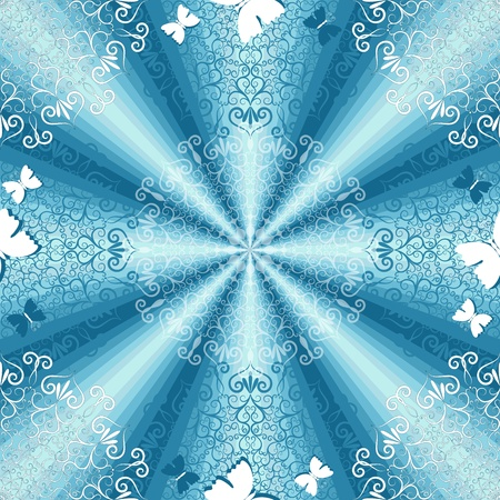 whiteblue: Gentle white-blue seamless background with translucent  round floral pattern and butterflies (vector EPS 10) Illustration