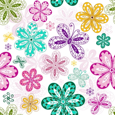 White vintage seamless pattern with colorful flowers and butterflies  Vector