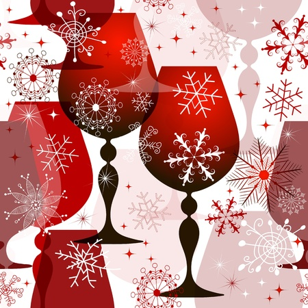 Christmas translucent seamless pattern with red wine glasses and filigree snowflakes    Vector