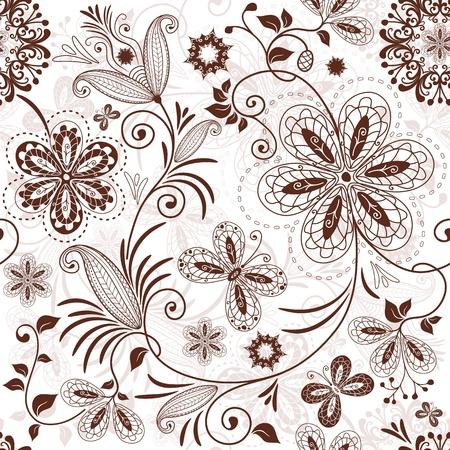 carve: Seamless patr�n blanco floral con mariposas cosecha flores marrones