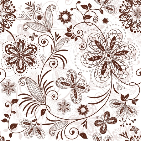 Seamless white floral pattern with vintage brown flowers butterflies