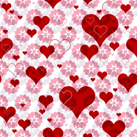 Seamless valentine pattern with pink flowers and vivid red hearts Vector