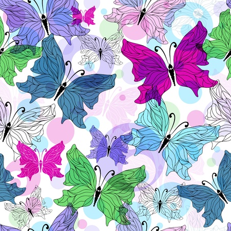 Seamless spring pattern with translucent  butterflies and balls Vector