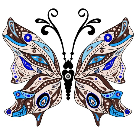 Brown and blue decorative fantasy butterfly isolated on white  Illustration