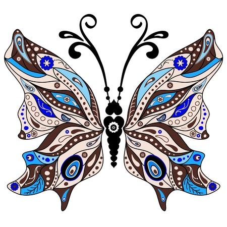 lavoro manuale: Brown e farfalla blu fantasia decorativa isolato su bianco
