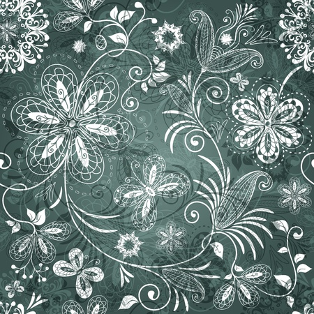 Green and white seamless pattern with transparent flowers and butterflies Vector