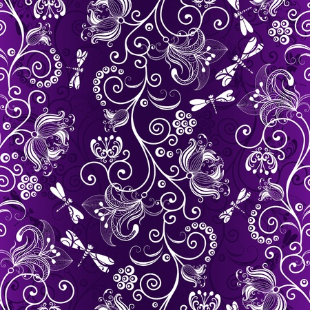 Dark violet floral seamless pattern with white flowers and dragonflies  Vector