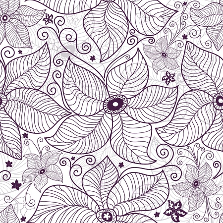 festoon: Seamless white floral pattern with decorative flowers and curls  Illustration