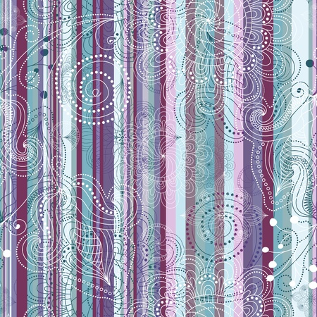 Colorful floral  translucent seamless striped vintage pattern  Vector