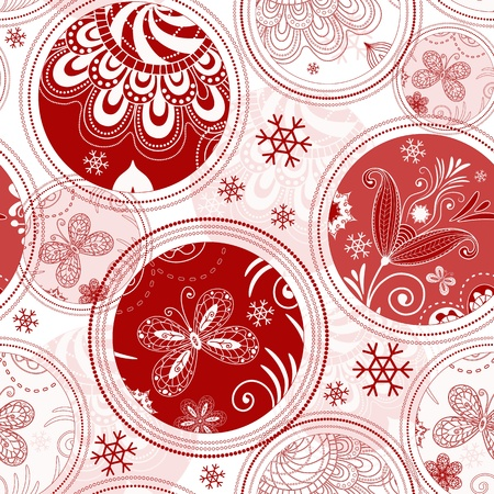 White seamless Christmas pattern with red-pink balls and snowflakes Vector