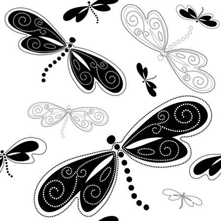 Seamless white pattern with black dragonflies and vintage curls