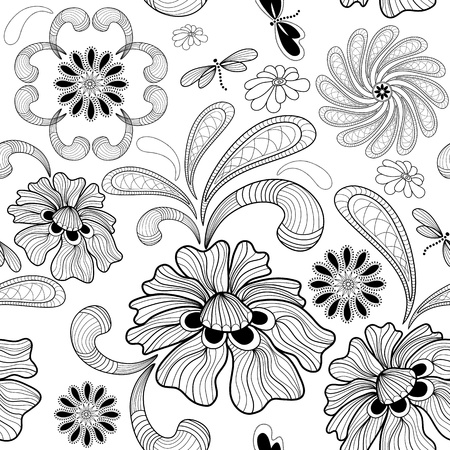 Repeating white floral pattern with carved flowers and dragonflies