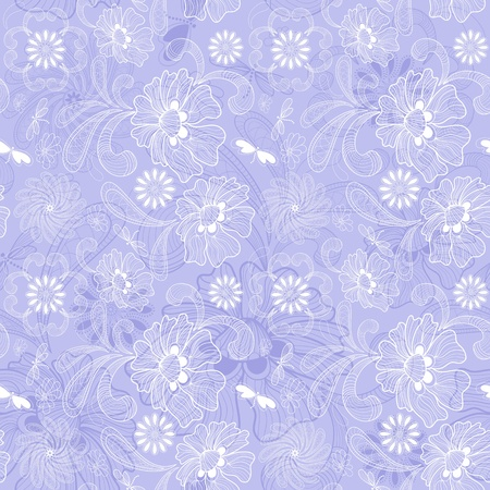 Gentle violet seamless background with calligraphy white floral pattern  Vector
