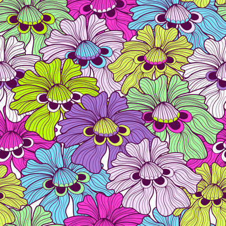 Seamless floral vivid motley pattern with colorful flowers