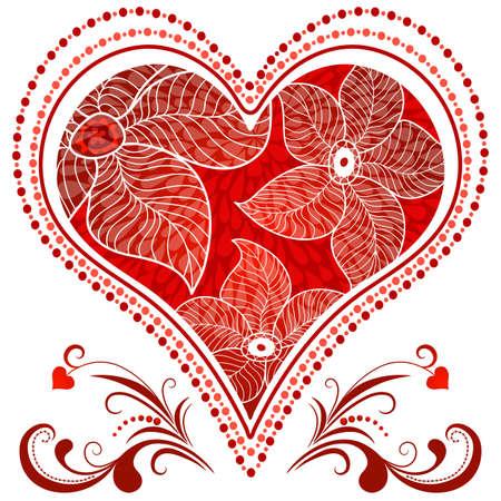 drawing heart: Grand coeur rouge romantique de cru sur le blanc.