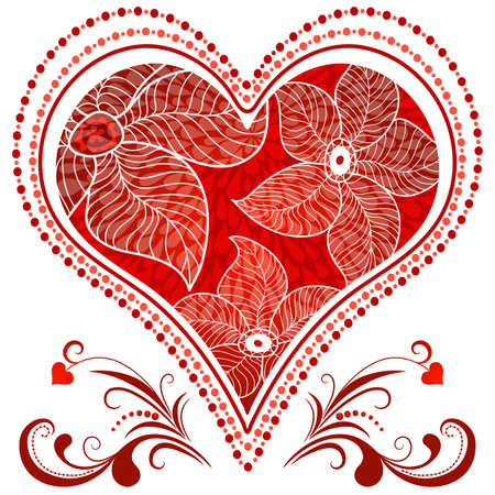 feb: Large red romantic vintage heart on white.