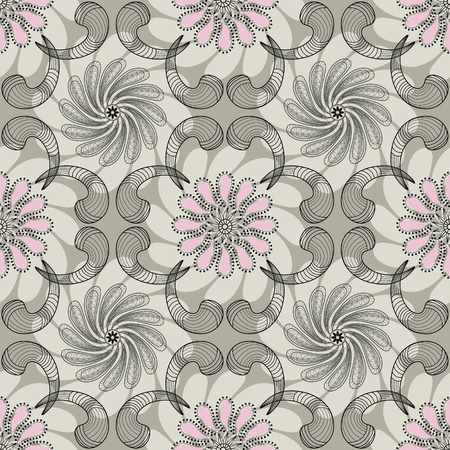 Gray-pink floral seamless pattern with lace flowers and curls Illustration