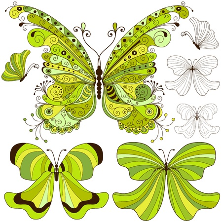 Set green and yellow-brown vintage butterflies on white Vector