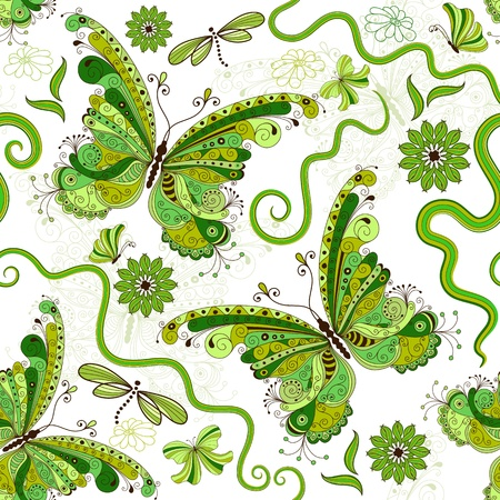 White and green seamless floral pattern with vintage butterflies (vector)