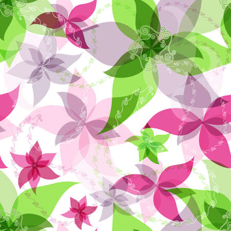 Seamless floral white pattern with colorful translucent vintage flowers and  paisley  Vector