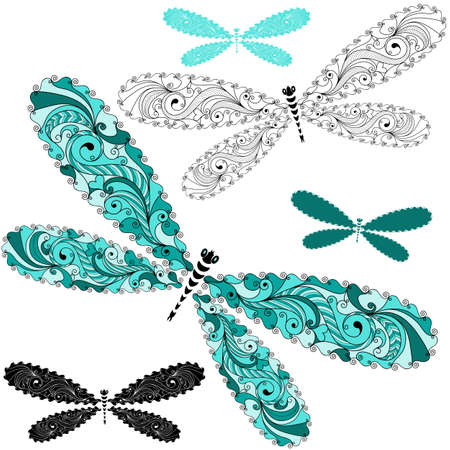 dragonfly wing: Set turquoise and black-white vintage dragonflies Illustration