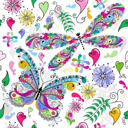 verde y morado: Patr�n floral sin fisuras de San Valent�n con coloridas mariposas y lib�lulas y los corazones