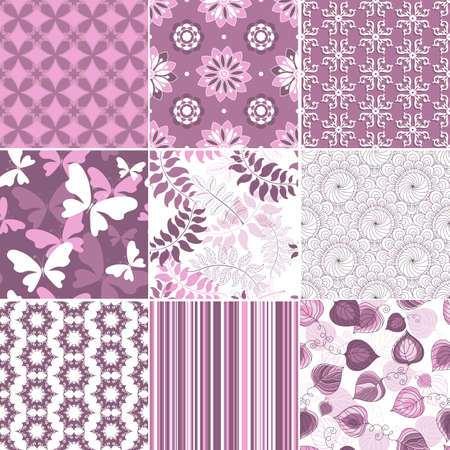 Set geometric and floral seamless pastel  pink-white patterns  Vector