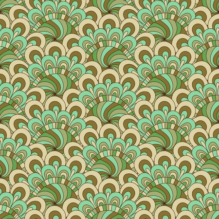Pastel green-brown seamless background with vintage flowers  Stock Vector - 15856180