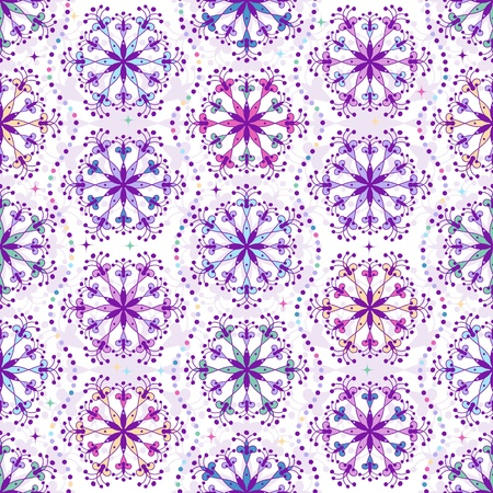 Christmas colorful repeating pattern with filigree snowflakes  Vector