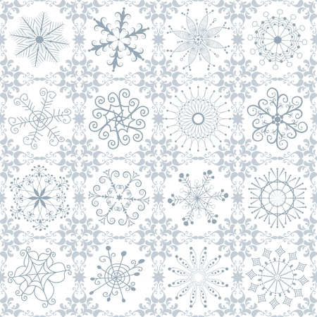 silvery: Christmas silvery repeating vintage pattern with filigree snowflakes Illustration
