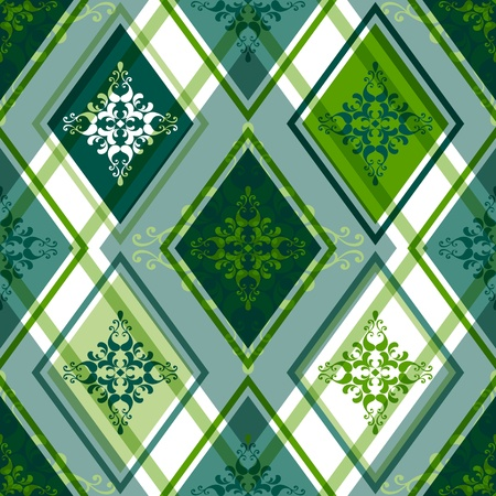 rhombic: Seamless green and white rhombic pattern with floral ornament  Illustration