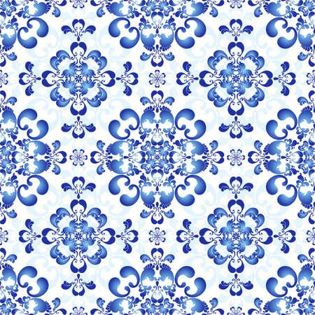 disegni cachemire: Bianco-e-blu modello eleganza senza soluzione di continuit� in stile russo gzhel Vettoriali