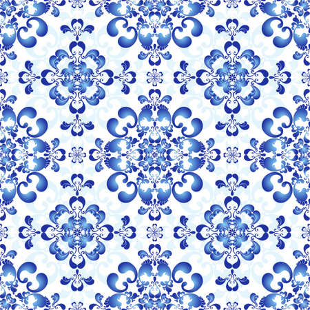 arabesque antique: White-and-blue elegance seamless pattern in Russian style gzhel