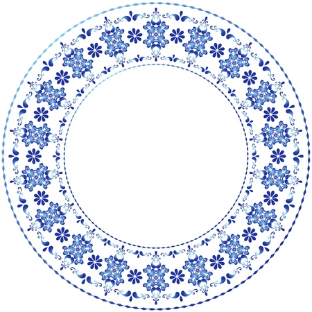 round frame: White-blue decorative gzhel frame on white (vector)