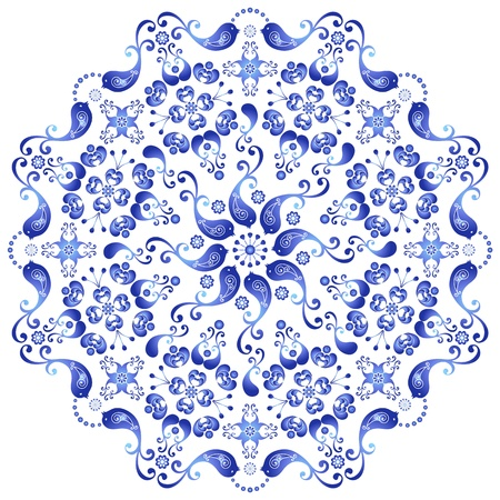 Decorative white and blue plate with birds on white (vector)