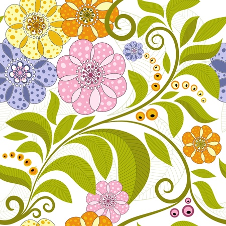 Bright spring seamless pattern with green branch and flowers   Illustration