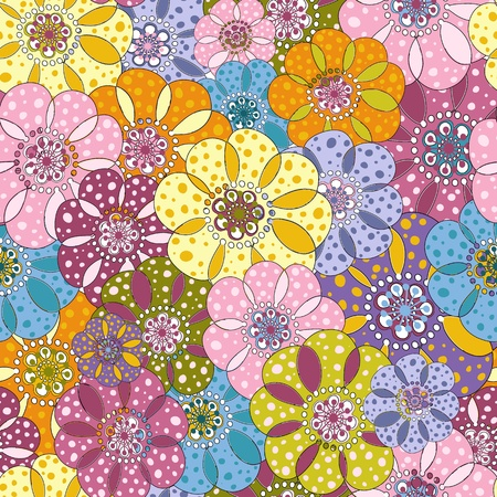 spotty: Seamless floral spotty vivid pattern with colorful flowers
