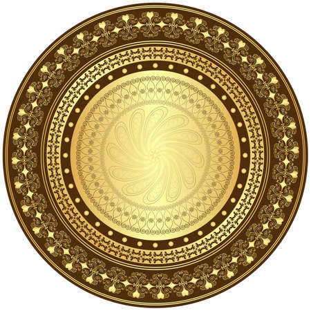 Decorative gold and brown frame with vintage round patterns on white  Illustration