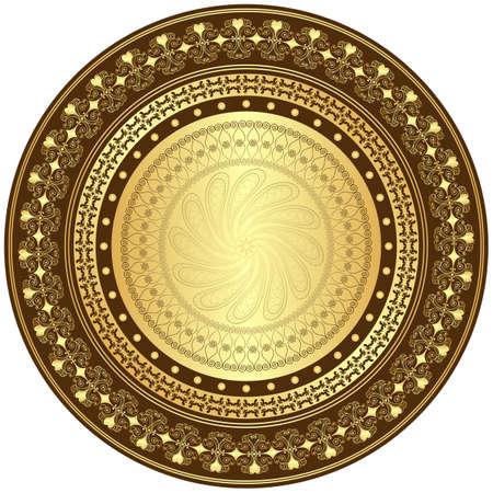 arabesque: Oro cornice decorativa e marrone con disegni d'epoca rotonde su bianco