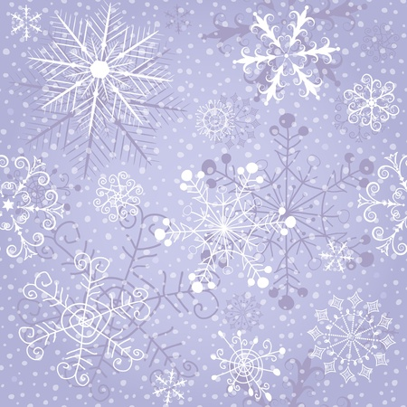 Christmas violet repeating pattern with snow and vintage snowflakes  Stock Vector - 15967100