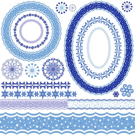 Set of blue Christmas frames and seamless pattern on a white  Vector