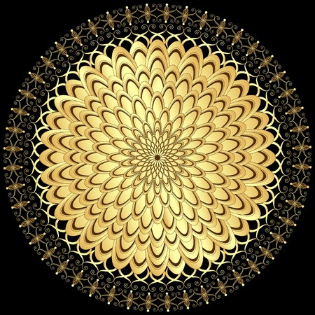 Decorative gold flower with vintage round patterns on black Vector