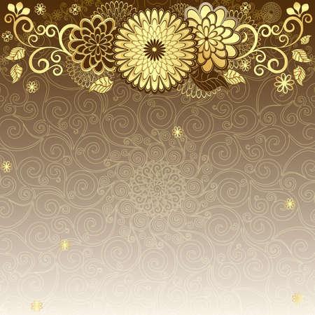 Vintage elegance frame with gold flowers