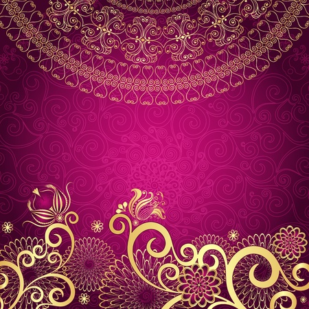 Vintage purple frame with gold flowers (vector EPS10) Vector