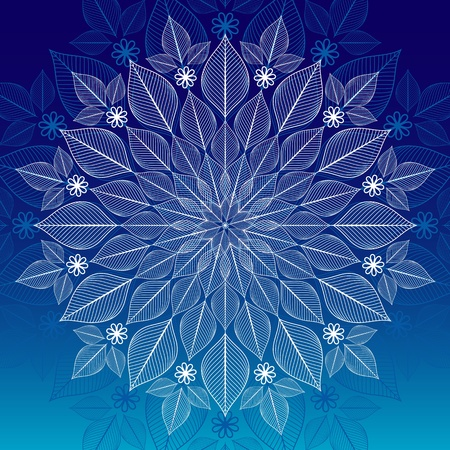 Christmas white and blue frame with big snowflake (vector) Vector